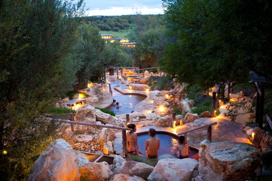 Peninsula Hot springs pools at dusk